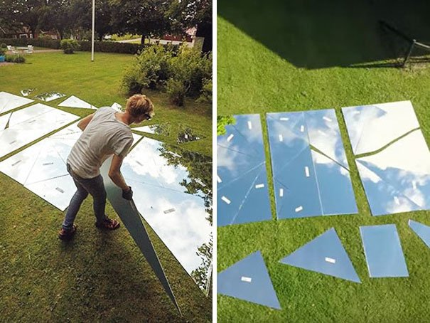 man placed mirrors on the lawn