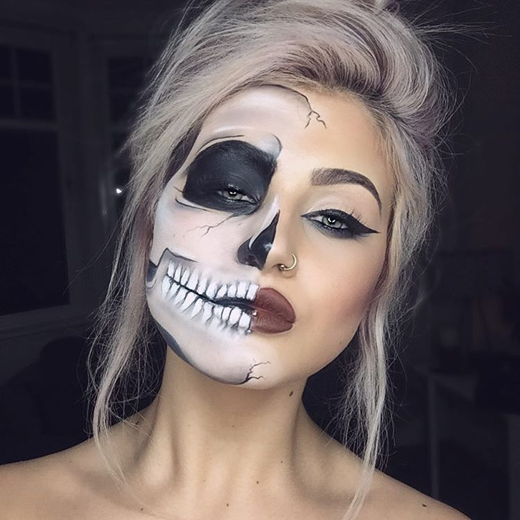 20 dise os de maquillaje original y divertido para halloween for Caras pintadas para halloween