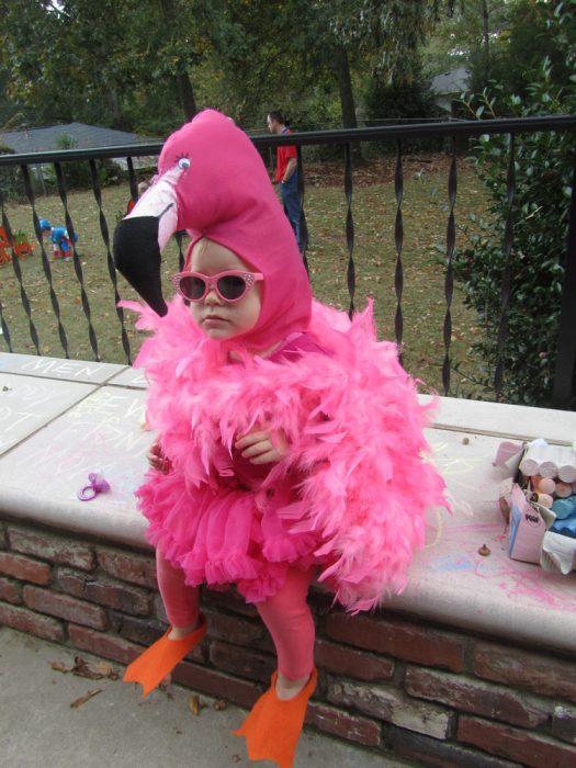 niña pequeña disfrazada de flamingo