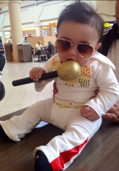 Baby dressed as Elvis Presley