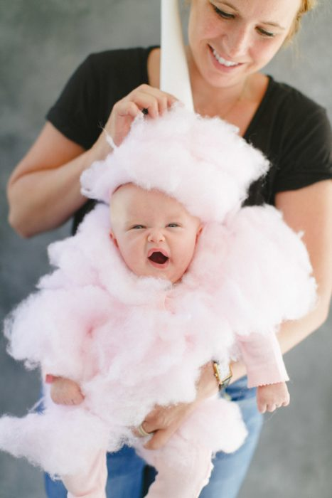 baby dressed as cotton candy