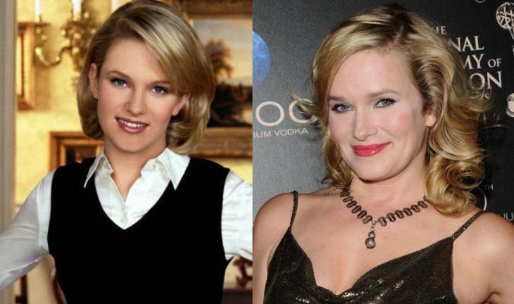 chica rubia con chaleco negro antes y después