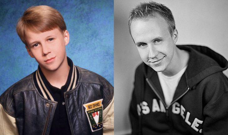chico rubio con chamarra antes y después