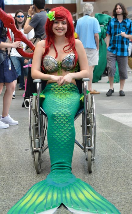 woman sitting in a wheelchair Little Mermaid