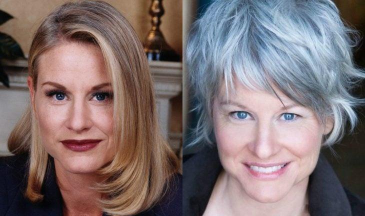 mujer rubia y maquillada antes y después