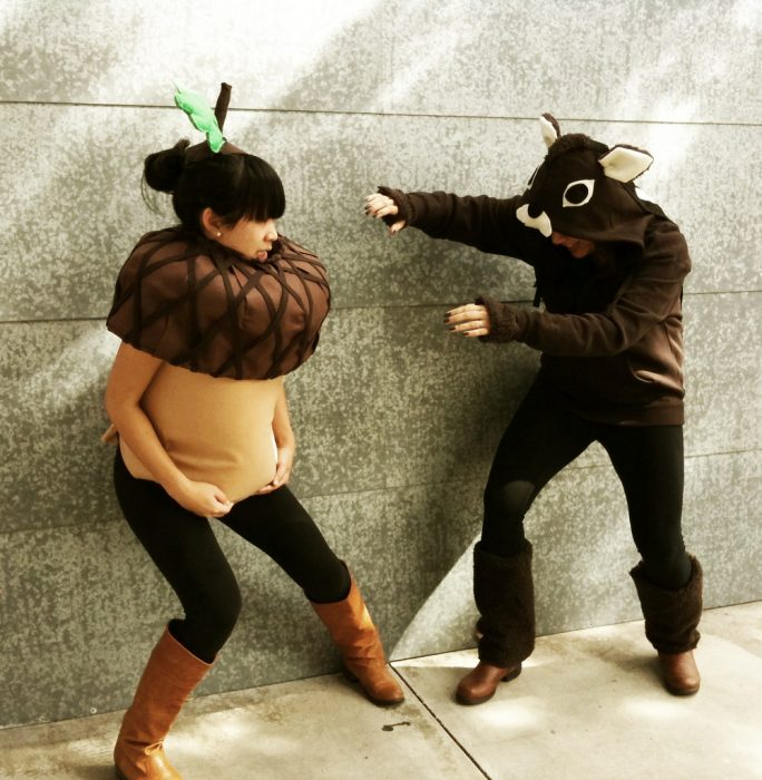 pregnant woman dressed squirrel and acorn