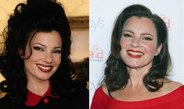 mujer de cabello negro y labial rojo antes y después