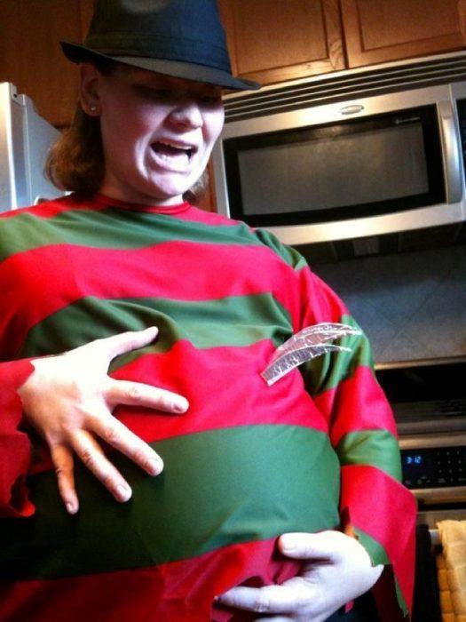 woman dressed in costume fredie kruger