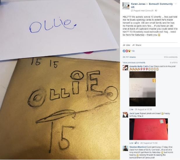 Publicación de la mamá de Ollie pidiendo ayuda
