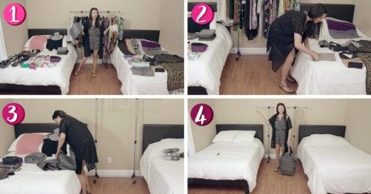 Esta chica nos enseña cómo empacar mucha ropa en una maleta pequeña