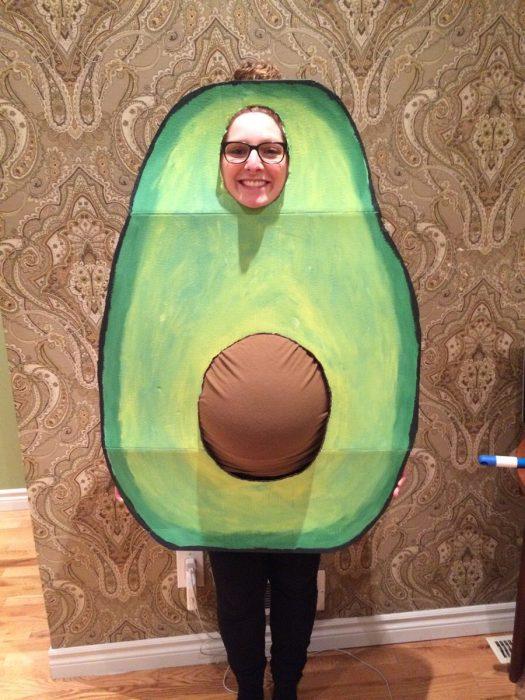 pregnant woman dressed avocado