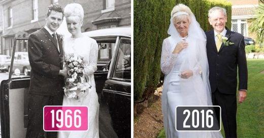 Esta pareja festeja 50 años de matrimonio ¡usando la misma ropa que en 1966!