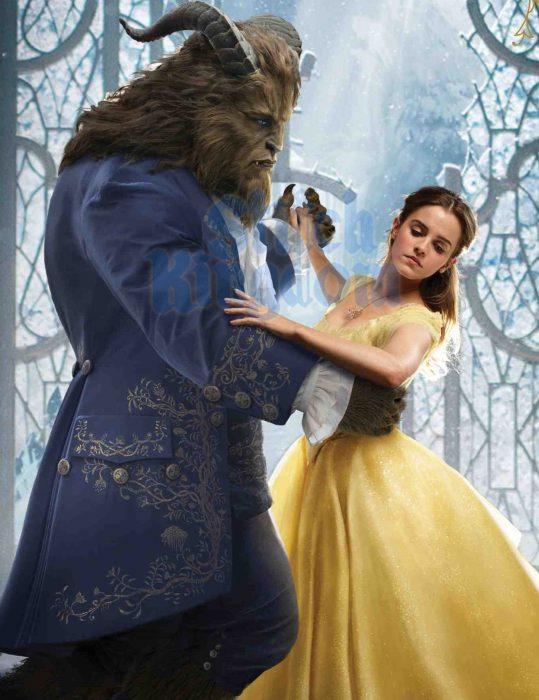 Emma Watson como bella bailando con la Bestia