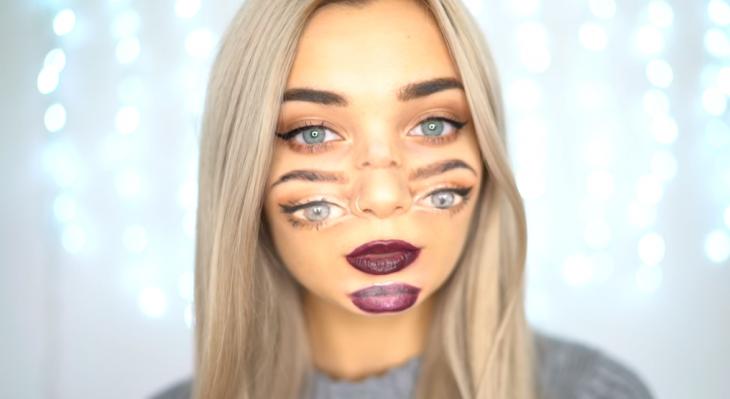 mujer maquillada con ojos y labios