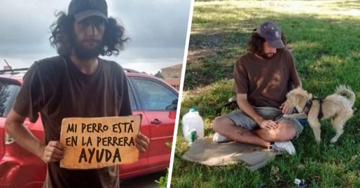 Vagabundo pide dinero para pagar cuota de su mascota en la perrera y una mujer decide ayudarlo