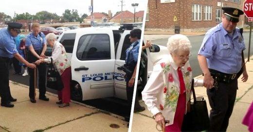 """Oficiales """"arrestan"""" a mujer de 102 años para ayudarla con su lista de cosas pendientes"""