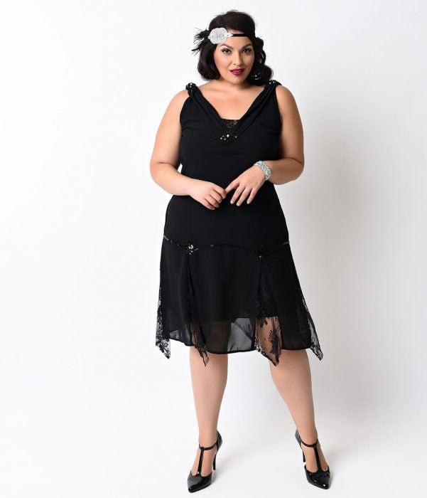woman with black dress costume charleston