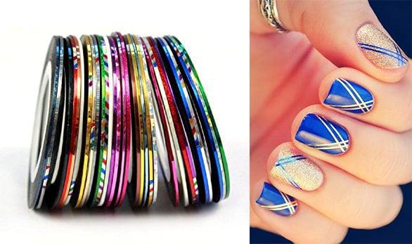 Tiras metálicas para decorar las uñas.