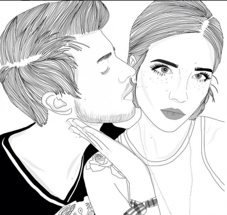 Ilustración de pareja, él besándola a ella.