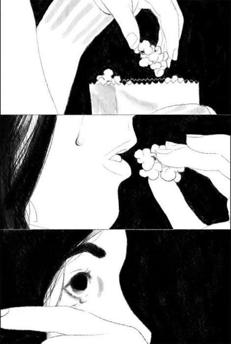 Ilustración de mujer en el cine llorando.