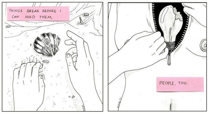 Ilustraciones de una concha y un humano.
