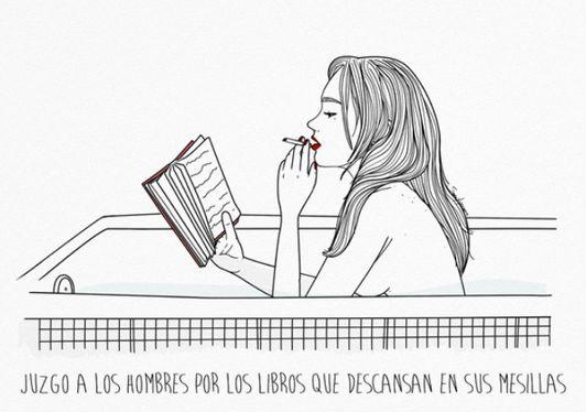 Ilustración de mujer leyendo.