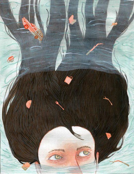 Ilustración de muchacha ahogándose.