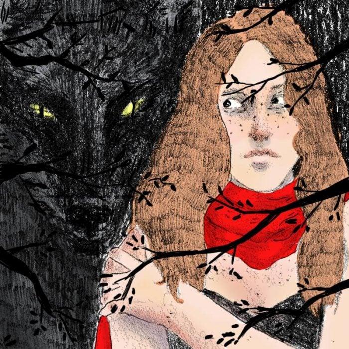 Ilustración de chica con un lobo detrás.