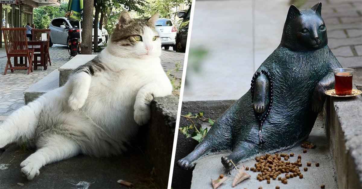 El gato más famoso y relajado del mundo ya tiene una estatua con la que será recordado por siempre