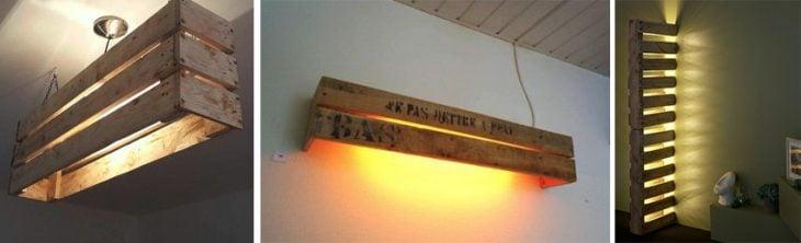 Lámparas hechas con palets.