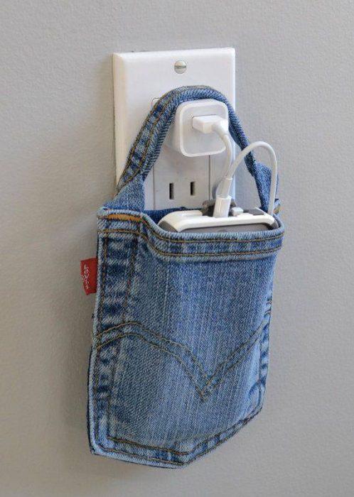 Funda para celular de bolsa de mezclilla.