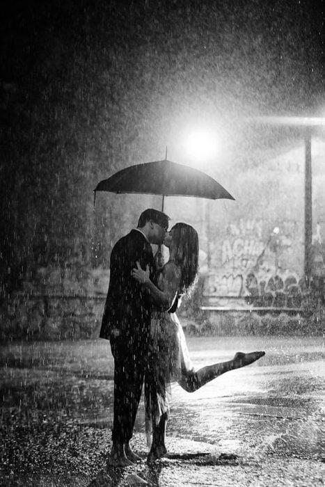 Couple in the rain.