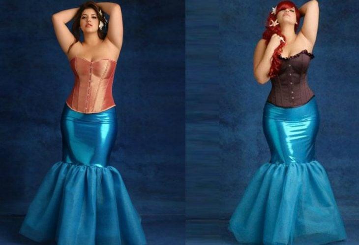 mujer con disfraz de sirena