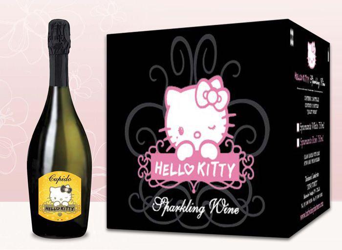 Vino Cupido de la colección Hely Kitty y el paquete en el que se entrega.