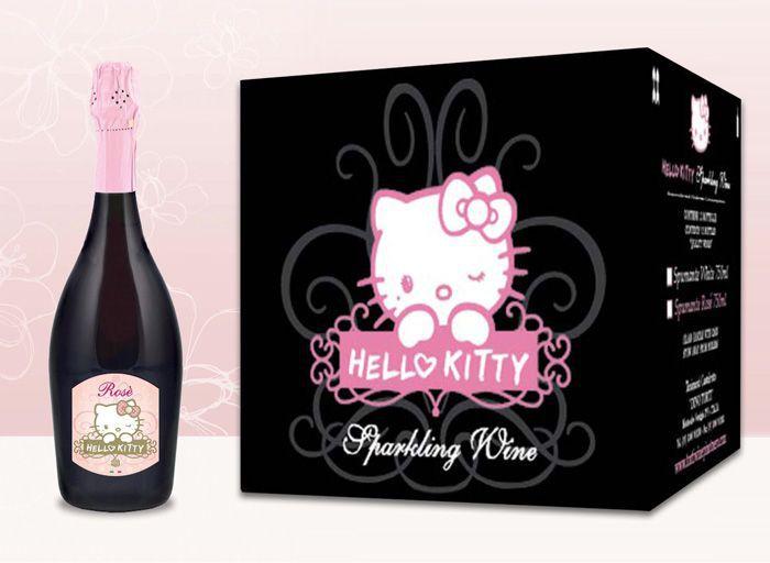 Vino rosado de Hely Kitty y el paquete en el que se entrega.