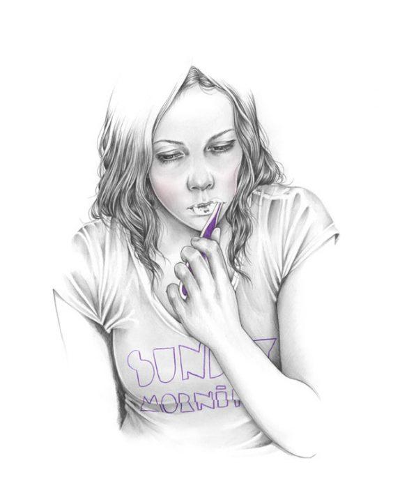 Ilustración de una mujer cepillándose los dientes.