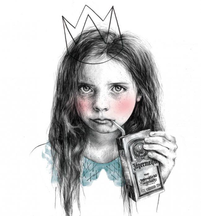 Ilustración de una niña con corona tomando jager.