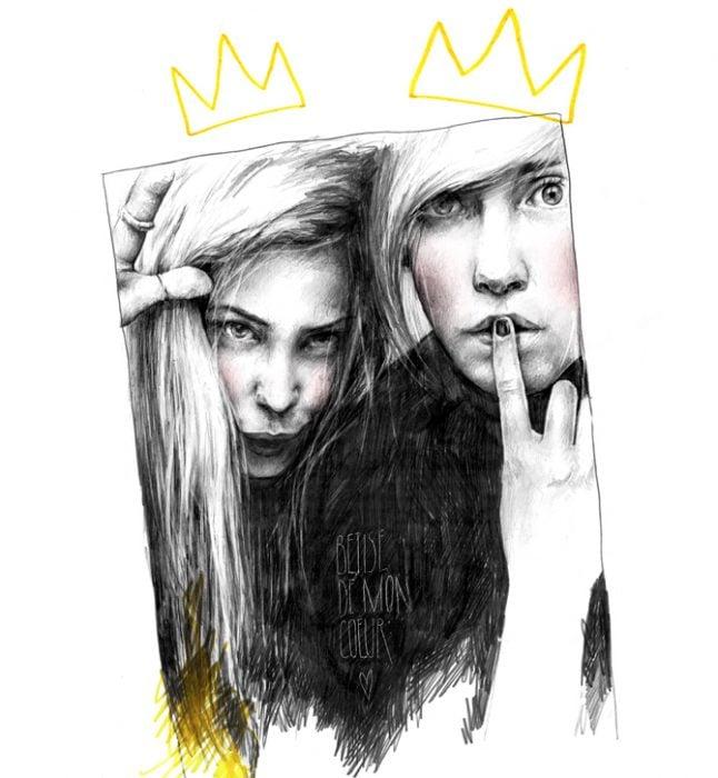 Ilustración de una pareja con corona.