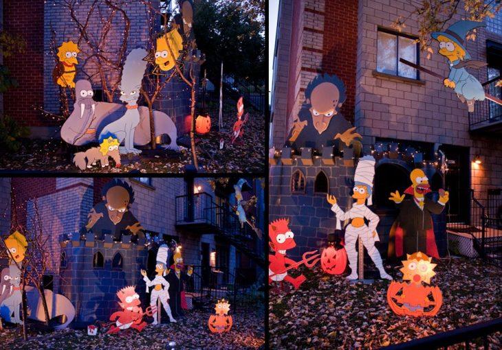 casa del terror decorada con personajes de los simpsons