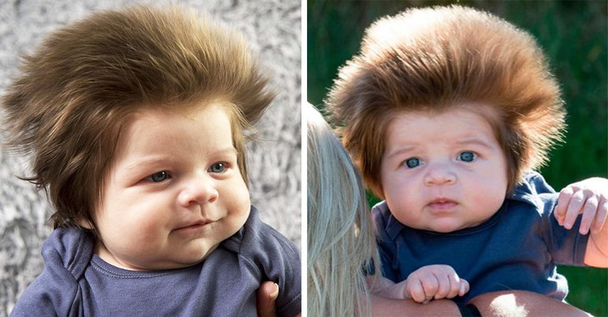 Internet se volvió loco con el increíble peinado de este bebé de 9 semanas