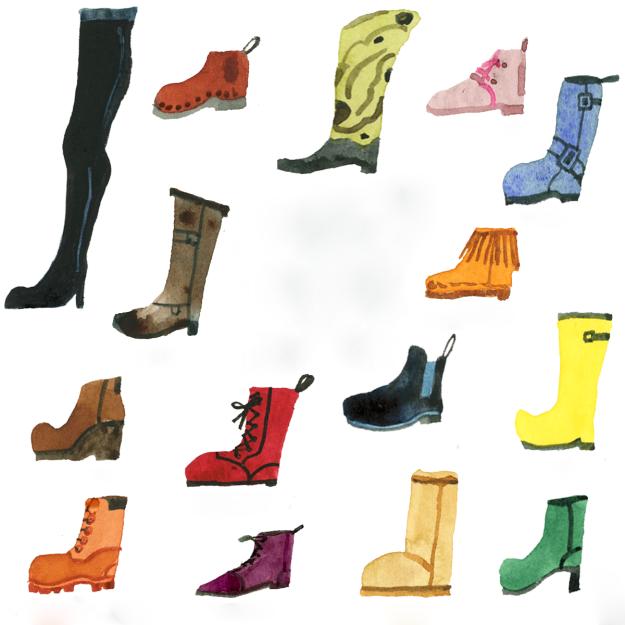 Botas de muchos tipos y colores.