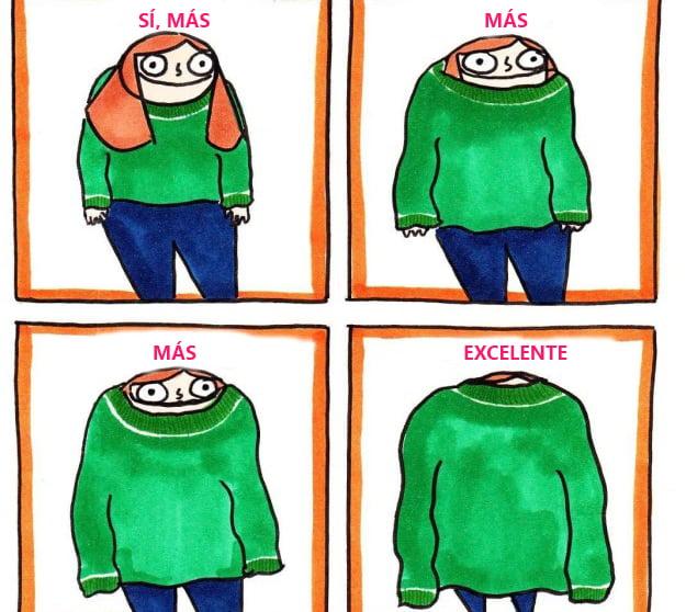 Animación de chica usando suéter.