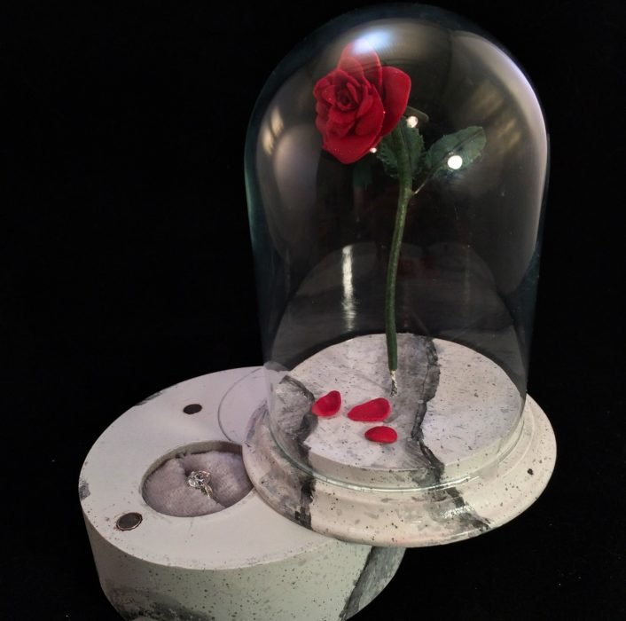 rosa dentro de cristal y anillo de compromiso