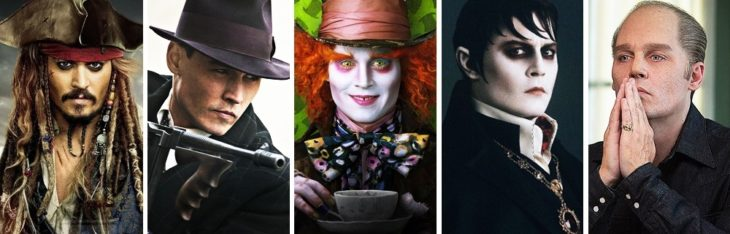 Jonnhy Depp in different characters
