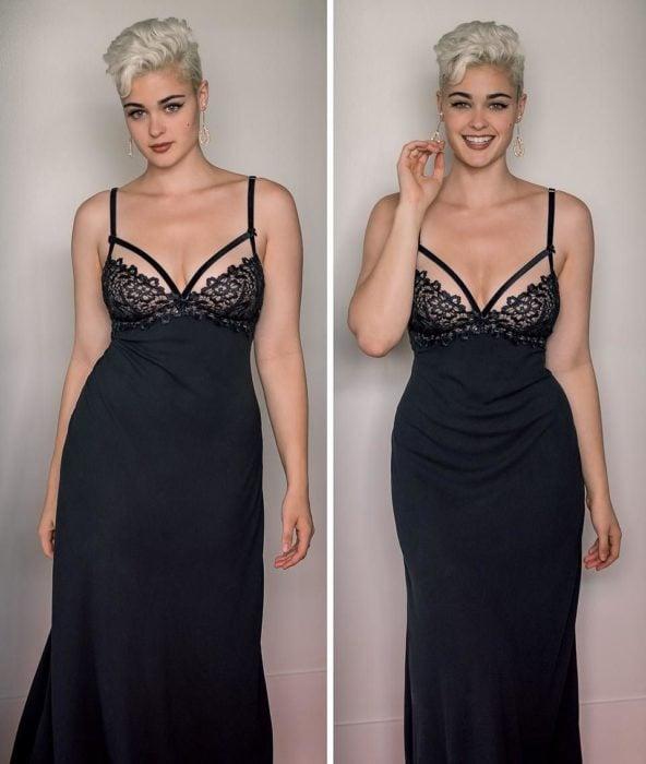 mujer de cabello corto rubio y vestido negro