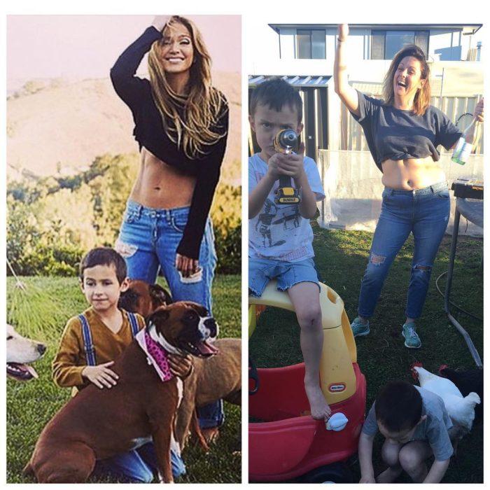 mujer con top y niño con perro
