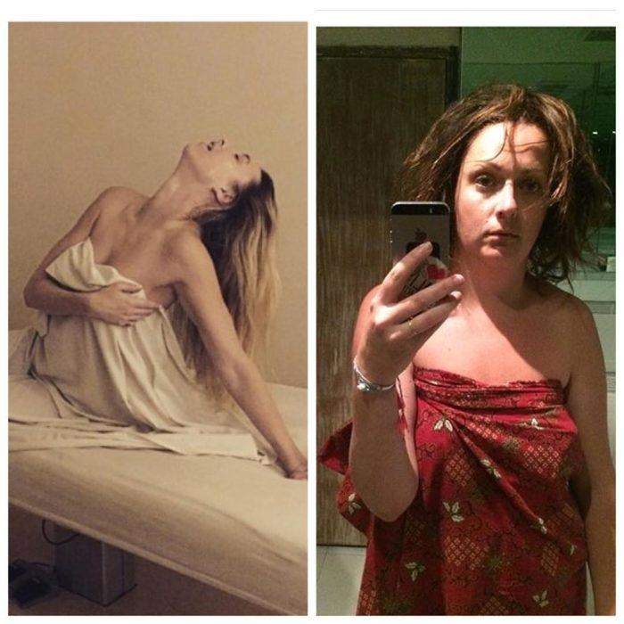 mujer con sabana y selfie en espejo