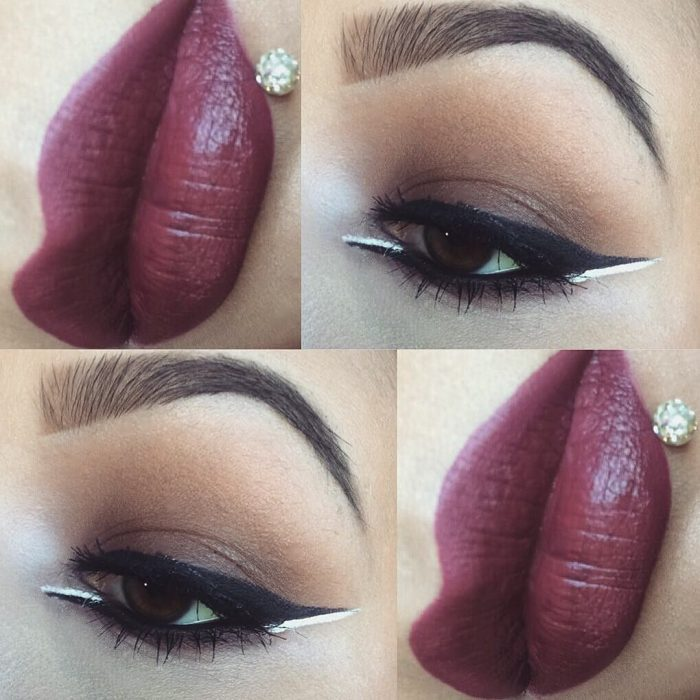 mujer con labios vino y delineado blanco y negro