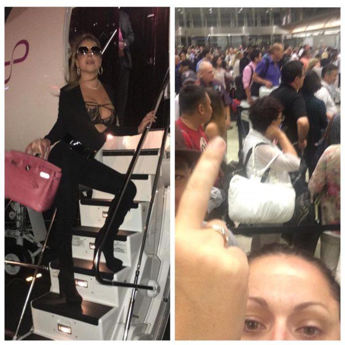 mujer subiéndose a un avión