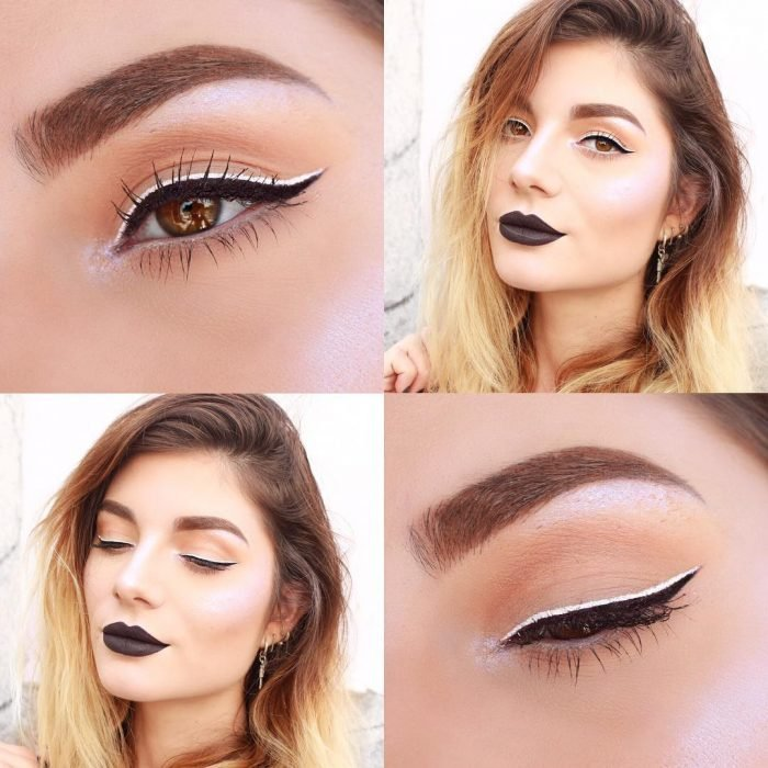 Women made up with eyeliner black and white